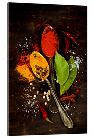 Acrylglas print  Bright spices on an old wooden board