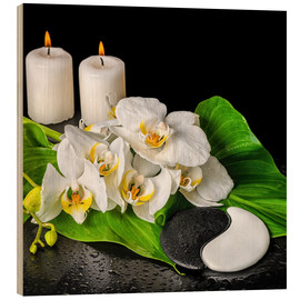 Hout print  Spa concept with candles and orchids