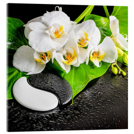 Acrylglas print  Spa arrangement with white orchid