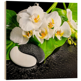 Hout print  Spa arrangement with white orchid