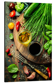 Aluminium print  Healthy bio vegetables and spices