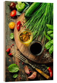 Hout print  Healthy bio vegetables and spices