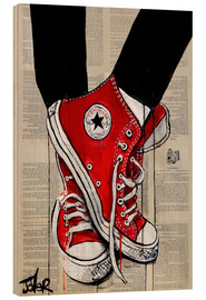 Hout print  Not without my red shoes - Loui Jover