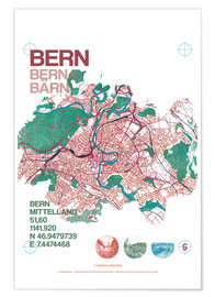 Premium poster  City motif Bern card - campus graphics