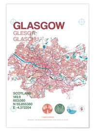 Premium poster  Glasgow city map - campus graphics