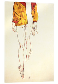 Acrylglas print  Standing half naked with a brown shirt - Egon Schiele