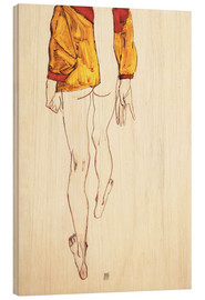 Hout print  Standing half naked with a brown shirt - Egon Schiele
