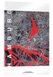 Acrylglas print  Hamburg city map midnight - campus graphics