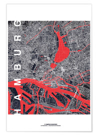 Premium poster Hamburg city map midnight
