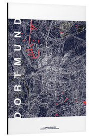 Aluminium print  City of Dortmund Map midnight - campus graphics