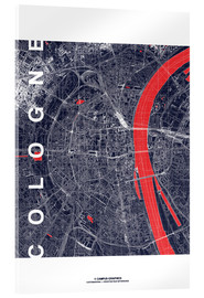 Acrylglas print  City of Cologne Map midnight - campus graphics