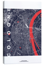 Canvas print  City of Cologne Map midnight - campus graphics