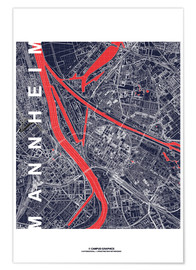 Premium poster  City of Mannheim Map midnight - campus graphics