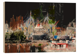 Hout print  Queen Mary in the dock - Peter Roder