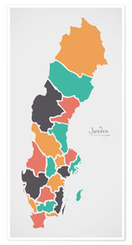 Premium poster Sweden map modern abstract with round shapes