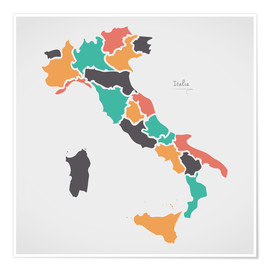 Premium poster Italy map modern abstract with round shapes