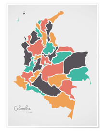 Premium poster Colombia map modern abstract with round shapes