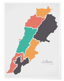 Premium poster Lebanon map modern abstract with round shapes