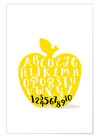 Premium poster ABC apple yellow