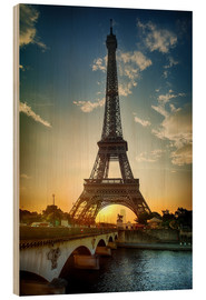 Hout print  Eiffel Tower and Pont d'Iena on Seine in Paris