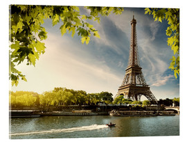 Acrylglas print  Eiffel tower on the river Seine, France