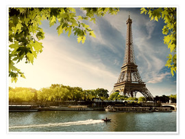 Premium poster Eiffel tower on the river Seine, France