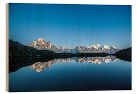 Hout print  Mont Blanc reflected in Lacs des Chéserys, France - Roberto Sysa Moiola