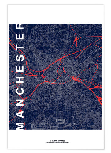 Premium poster Manchester Map Midnight Map