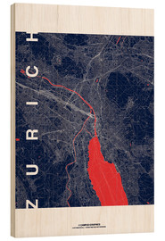 Hout print  Zurich Map Midnight City - campus graphics