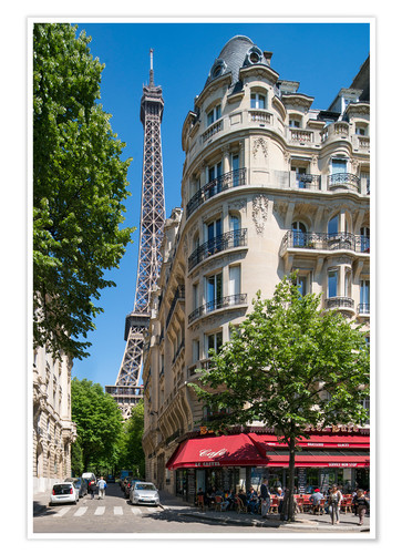 Premium poster Eiffel tower with street cafe in Paris, France
