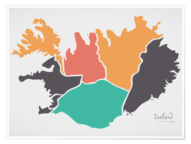 Premium poster Iceland map modern abstract with round shapes