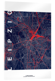 Acrylglas print  Leipzig Map Midnight city - campus graphics