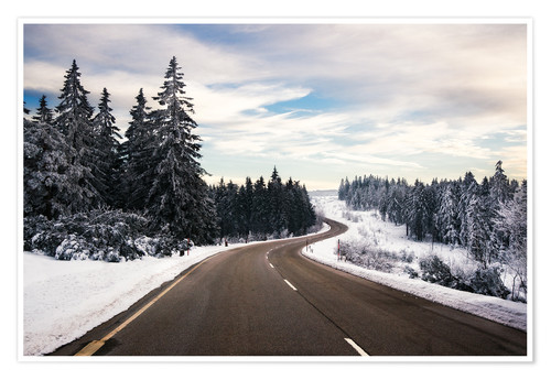 Premium poster Curvy road in winter in the Black Forest