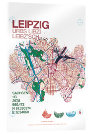 Acrylglas print  Leipzig map city motive - campus graphics