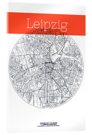 Acrylglas print  Leipzig map circle - campus graphics