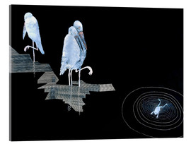 Acrylglas print  Three Storks and a Frog in a Pond - Jean Dunand