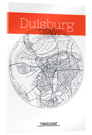 Acrylglas print  Duisburg map circle - campus graphics