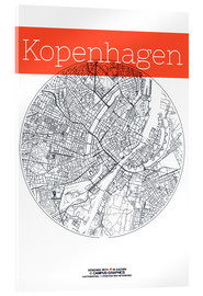 Acrylglas print  Copenhagen map circle - campus graphics