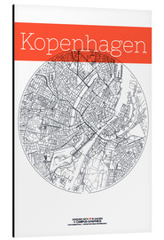 Aluminium print  Copenhagen map circle - campus graphics