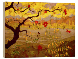 Hout print  Apple Tree with Red Fruit - Paul Ranson