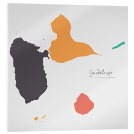 Acrylglas print  Guadeloupe map modern abstract with round shapes - Ingo Menhard
