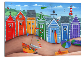 Aluminium print  Beach hut rainbow scene - Peter Adderley