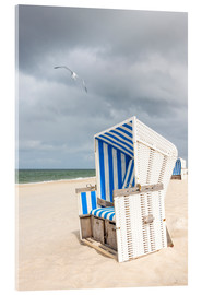 Acrylglas print  Seagull and beach chair on Sylt