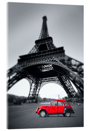 Acrylglas print  Vintage red car stands on the Champ de Mars