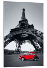 Aluminium print  Vintage red car stands on the Champ de Mars