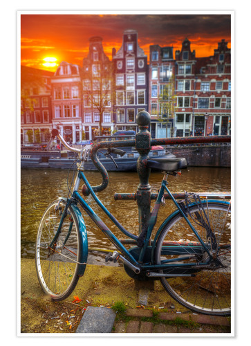 Premium poster Bicycle in the glowing sunset