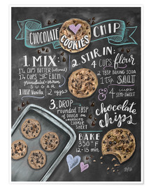 Premium poster  Chocolate chip cookies recept (Engels) - Lily & Val