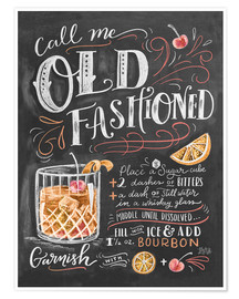 Premium poster  Old fashioned recept (Engels) - Lily & Val