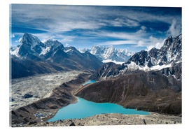 Acrylglas print  Mountains with lake in the Himalayas, Nepal
