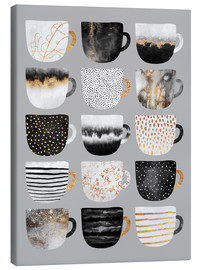 Canvas print  Pretty coffee cups 3 in grey - Elisabeth Fredriksson